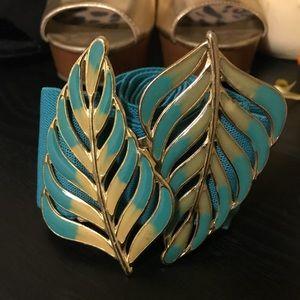 Double Leaf Metal Buckle Turquoise Belt